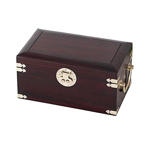 JIANGCJ Bella Caja de joyería Redwood Jewelry Estuche Organizador Doble Capa Gran Capacidad Joyas Caja Vintage Collar Anillo Pendientes Estuche de Almacenamiento Caja de talismán