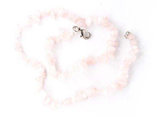 Taddart Minerals - Collana in quarzo naturale rosa, 45 cm di lunghezza, fatta a mano