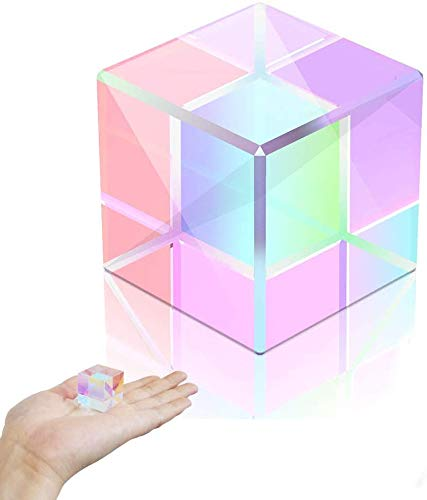 REYOK Cubo Prisma a Dispersione RGB Vetro Ottico Prisma Fotografia Prisma 15mm Square Cube Prism Rainbow Maker for Photography Science Teaching Physical Lessons Window Decoration