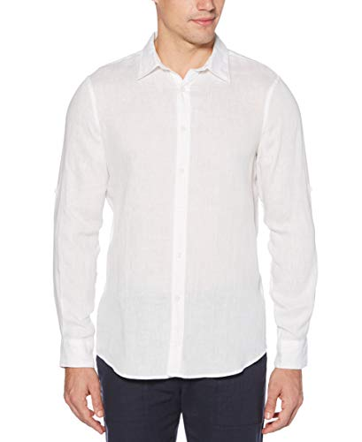 Perry Ellis Men's Long Sleeve Solid Linen Shirt, Bright White, Small