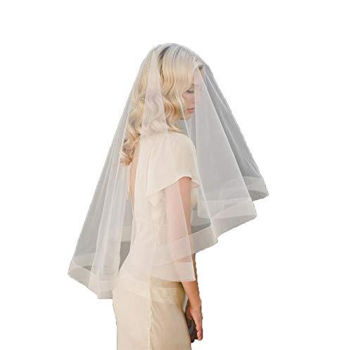 Gquan Bruidssluier, Zacht mesh eenvoudige elastische mesh rand enkele laag wit Veil Studio Tour Bride Veil