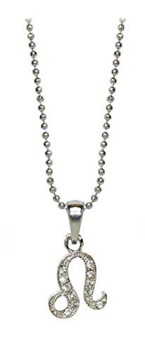 Kaltner Präsente Cadeau-idee - halsketting voor dames en heren met sterrenbeeld hanger leeuw en kristallen stenen
