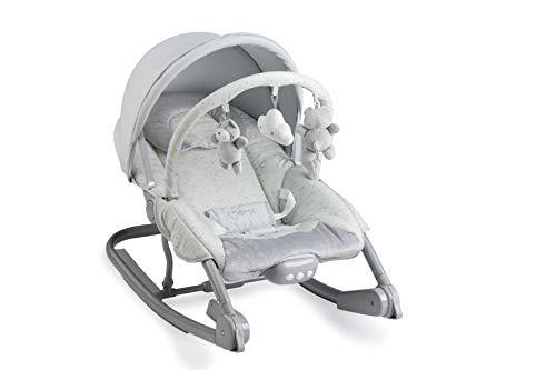 MOMI EBES Babywippe für Babys, weiche Polsterung, Metallrahmen, Antirutsch-Füßchen, Haltegurt | Gewicht 3,84 kg, Abmessungen 80 x 54 x 40 cm | Sensorisches Modul für kreative Kinderförderung (Hearts)