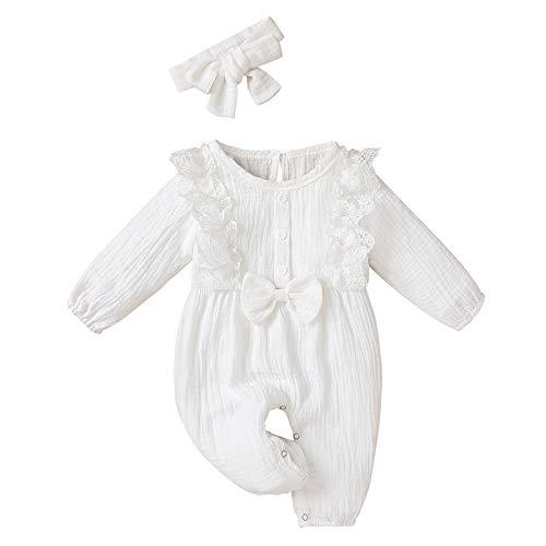 ODRD Neugeborenes Baby-Unisex Schlafsack Strampler Säugling Baby Mädchen Baumwolle Leinen Strampler Spitze Bogen Einer Stück Overall Kleider Body Kleidung Set Herbst Winter Outfits
