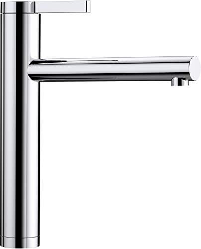 BLANCO 517594 LINEE, Küchenarmatur-Einhebelmischer, exklusiver Wasserhahn für die Küche, Oberfläche chrom, Hochdruck, 1 Stück, Rohrauslauf