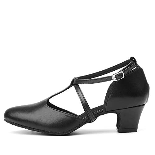 TINRYMX Tacones de Baile Latino Mujer Zapatos de Baile con Punta Cerrada...