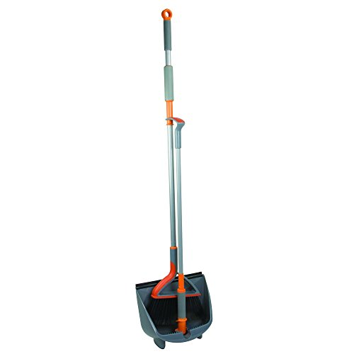 Casabella Quick 'n Easy Upright Broom and Dustpan Set, Gray/Orange