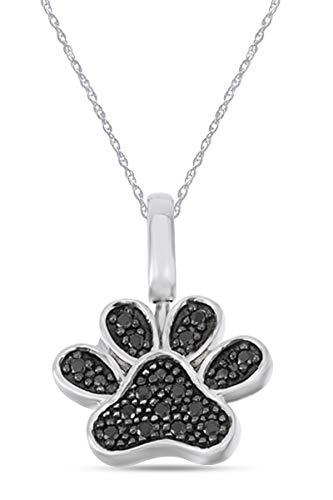 Colgante redondo natural de 1/6 quilate con estampado de huella de diamante blanco y negro con cadena de 45,7 cm en oro sobre plata de ley (0,16 quilates, claridad I2), Diamond,