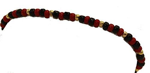 Azabache 7Inch Pulsera–Chapado en oro de 18K Azabache rojo y negro 4mm 7pulgadas Pulsera