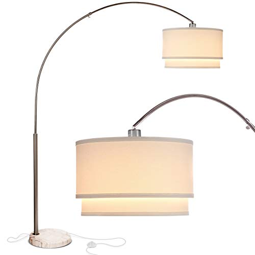 Brightech Mason - Arc Floor Lamp with Unique Hanging Drum Shade for Living Room Matches Your Decor - Arching Over The Couch from Behind, This Standing Pole Light Gets Compliments - Nickel