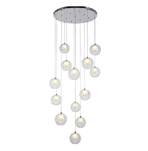 MUXIN Luz de Techo, luz Colgante de Bola de Cristal G4-LED,12 Bolas de Vidrio Escalera Araña Colgante Largo Luz Edificio dúplex Araña Grande Sala de Estar Villa Hollow Lámpara Minimalista de Escalera