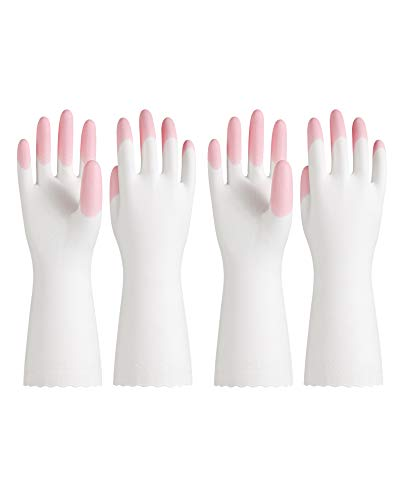 PACIFIC PPE 2 Pairs PVC Cleaning Glove, Unlined, Latex Free, Waterproof, Kitchen, Dishwashing, Pink, Meduim