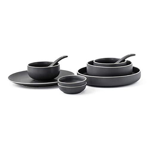 WEHOLY Set di stoviglie in Ceramica per la Cena Occidentale Piatto di zuppa di Riso Piatto per zuppa Domestica Piatto per zuppa 9 Pezzi Set di stoviglie