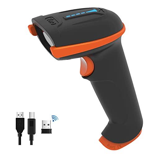 Tera Lettore di codici a barre portatile 1D laser wireless e USB cablato con indicatore del livello della batteria, batteria extra large 2000mAh, brevetto n.: EU008489413, aggiornamento modello 5100