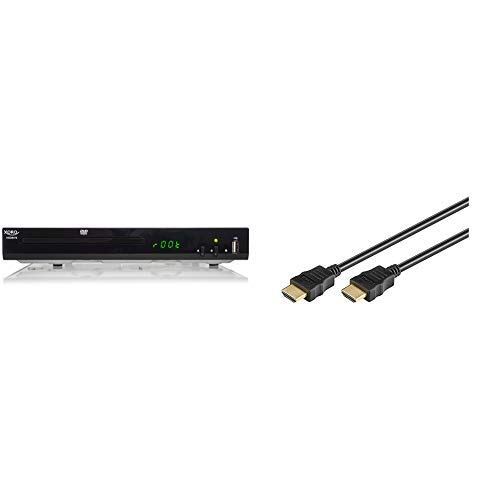 Xoro HSD 8470 HDMI MPEG4 DVD-Player (USB 2.0, Mediaplayer, 1080p Upscaling, MultiROM) schwarz & Goobay HDMI High Speed Kabel 4K, Ultra-HD, Full-HD, 3D, vergoldete Stecker 1,5 m