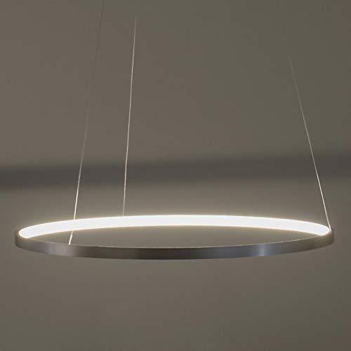 LED Pendelleuchte dimmbar Edelstahl Silber | Moderne Ring-Hängeleuchte warmweiß | Memory-Funktion | Pendellampe LED Leuchtring Wohnzimmer Esszimmer (60cm)