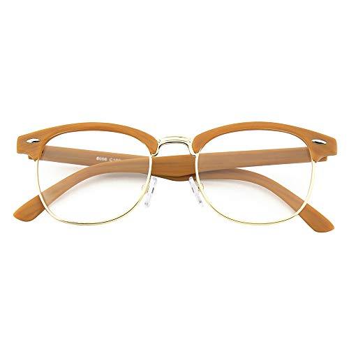 Happy Store CN56 Vintage Inspired Classic Horn Rimmed Half Frame Nerd UV400 Clear Lens Glasses,Wood Color