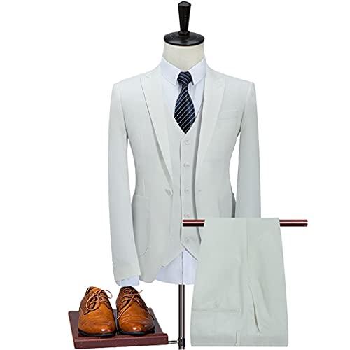 LEPSJGC メンズスリーピースビジネスパーティースーツピークラペルシングルバックルウェディンググルームドレスメンズブレザースーツパンツベスト (Color : White, Size : M code)