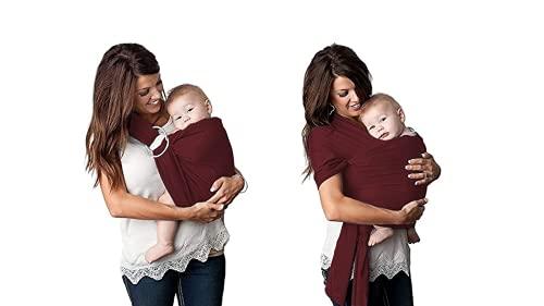 Uamita - Fular portabebés elástico de algodón orgánico transpirable, se puede utilizar tanto en el cuerpo de la madre como con los anillos (rojo, 0,45 x 5,1 m, para mujeres de cuerpo medio y grande)