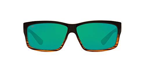 Costa Del Mar Men's Cut Polarized Rectangular Sunglasses, Coconut Fade/Copper Green Mirrored Polarized-580G, 60 mm