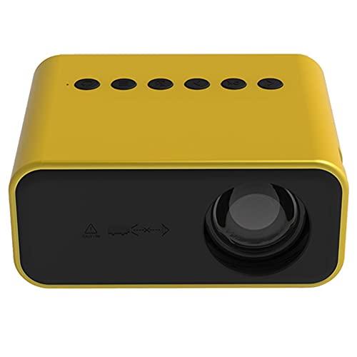 Huante Proyector DoméStico YT500 Proyector de Video PortáTil LED MóVil Cine en Casa Regalo para NiiOs con Reproductor Multimedia (Enchufe Europeo Amarillo)