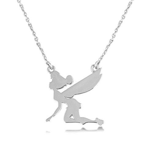 Disney Couture Weiß Vergoldet Halskette Fliegende Tinkerbell