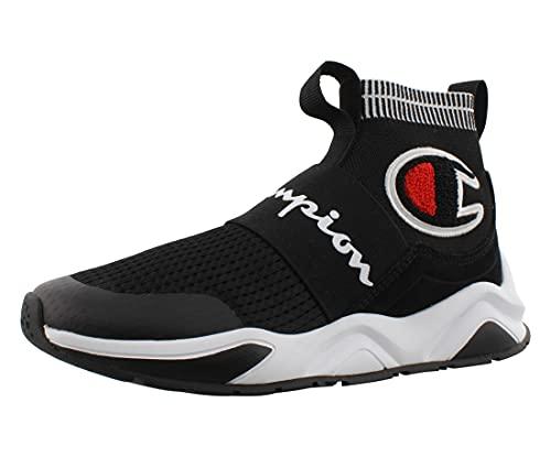 Champion Boy s Rally Pro Big C Knit Sock Top Sneaker, Black, 5M