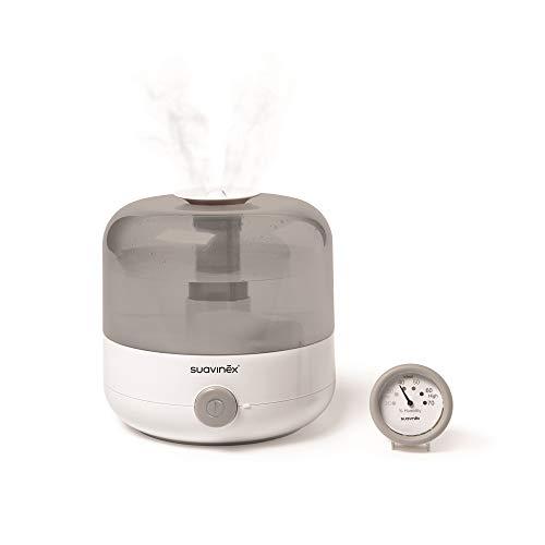 Suavinex 400804 Humidificador Silencioso de Vapor en Frío para Bebés con Preciso Higrómetro Tecnología Ultrasonido, Color Blanco/ Gris