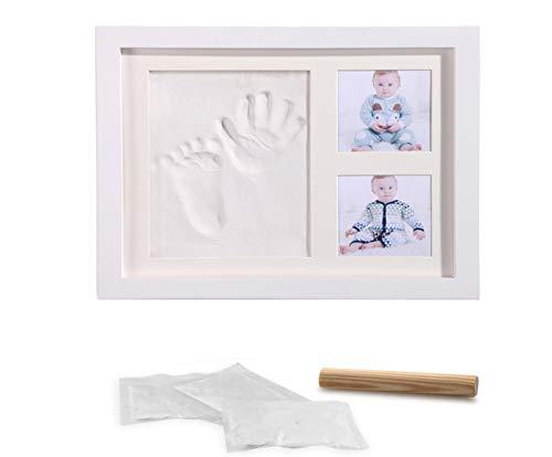 marco de huellas Acobonline Kit de Marco de madera Para Manos y Huellas de bebé para niños y niñas. No se agrieta al secar. (Blanco-Arcilla)