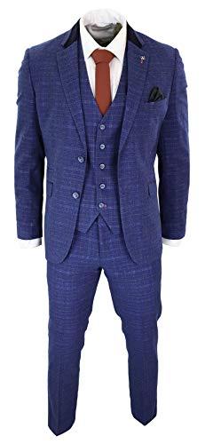House Of Cavani Herrenanzug Blau Tweed Fiscgräte Design 3 Teilig Vintage Retro