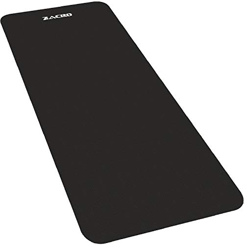 Zacro Protective Exercise Mat - 5.9 x 2.46ft Heavy Duty Exercise Equipment and Treadmill Mats, Bonus with One Yoga Strap, Black