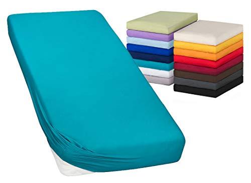 Moon-Luxury Spannbettlaken Spannbetttuch Jersey Stretch 230g/m² für Wasserbetten, Boxspringbetten und herkömmliche Matratzen (Petrol, 180x200-200x220)