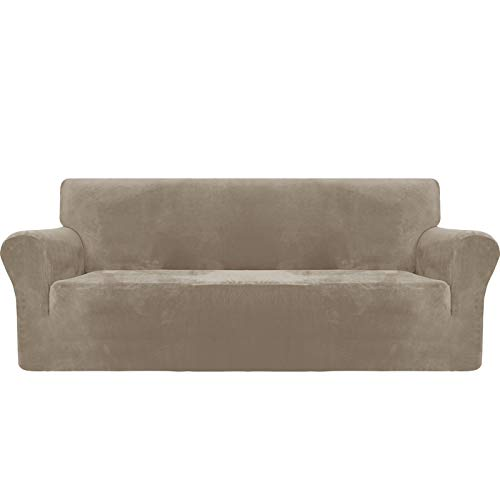 MAXIJIN Thick Velvet Sofa Covers 3 Seater Super Stretch Couch Cover for Dogs Cat Pet Friendly 1-Piece Elastic Furniture Protector Plush Sofa Slipcovers (3 Seater, Khaki)