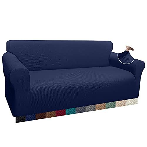 Luxurlife - Cubresofá grueso extragrande, funda elástica para sofá de 4 plazas, protector antideslizante para salón, protección para perros, color azul marino