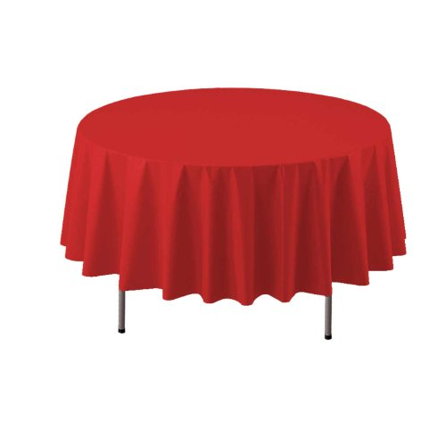 "Party Essentials Heavy Duty 84"" Round Plastic Table Cover Available in 22 Colors, Red"
