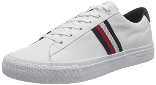 Tommy Hilfiger Herren Corporate Leather Sneaker Sportschuh aus Leder, weiß, 42 EU