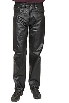 Charades Men s Faux-Leather 4-Pocket Costume Pants black Waist 44