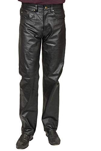 Charades Men's Faux-Leather 4-Pocket Costume Pants, black, Waist 38