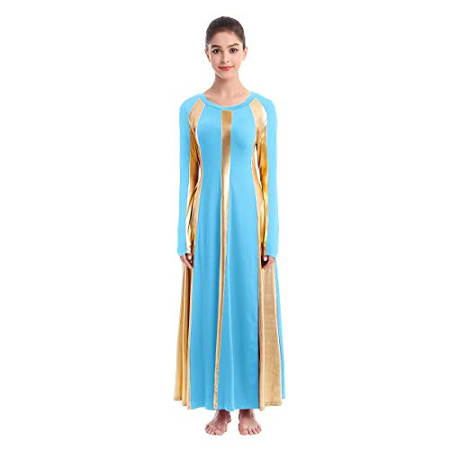 Reversible Dress for Women,Women Boho Dress Casual Irregular Maxi Dresses Vintage Loose Long Sleeve Cotton Linen Dress Blue+Gold S