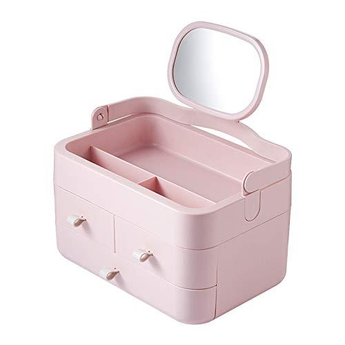AZYJBF Organizador de Maquillaje con Espejo e Cajón, Almacenamiento de Maquillaje con Asa de Transporte Caja de Almacenamiento de Cosméticos Portátil para Dormitorio, Tocador,Rosado