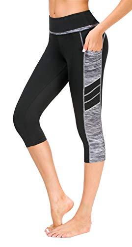 Sugar Pocket - Mallas de deporte para mujer negro, gris y blanco. XS