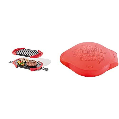 Lékué Microwave Grill, Red microondas, Acero, rojo y negro, 25,4 x 14,5 x 5,3 cm + Spanish Omelette - Molde para tortilla española, color rojo