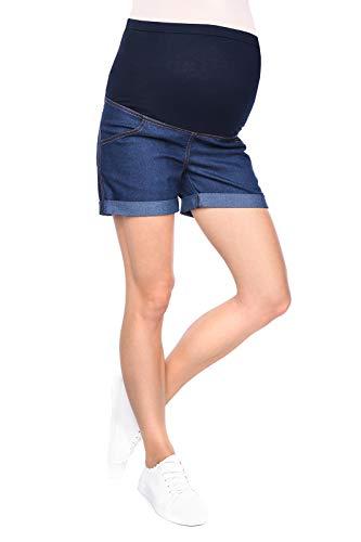 Mija - Kurze Jeans Umstandsshorts/Umstandshose mit Bauchband für Sommer 3086 (36, Denim Marineblau)