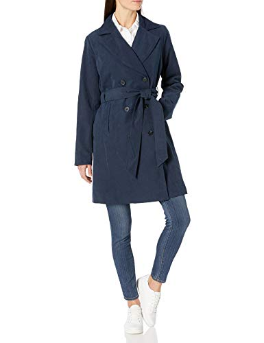 Amazon Essentials Women's Relaxed-Fit Water-Resistant Trench Coat, Navy, Medium