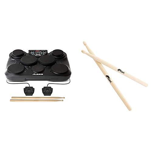 Alesis CompactKit 7 - E Schlagzeug Elektronisch mit 7 Drum Pads, Drumsticks, 2 Pedalen und 265 Drum Sounds & Tiger Music TDA28-WD Stöcke für Schlagzeug für Kinder