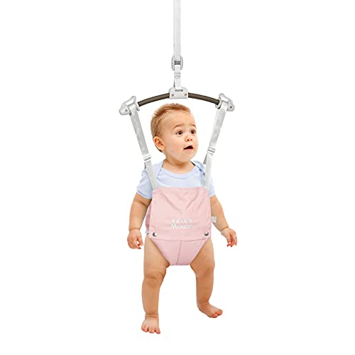 Infant Master Doorway Jumper, Durable Bumper Jumper w/ Adjustable Height, Funny Baby Doorway Swing Bouncer w/ Seat Bag, Popular Gift for Infant & Toddler, Portable and Free Installation, Pink
