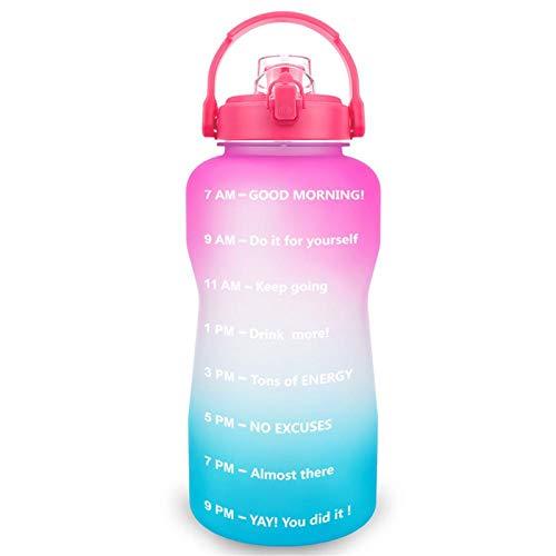 Tritan - Soporte para botella de agua para smartphone (2 L, con pajita, sin BPA, portátil, ideal para deportes o gimnasio), color rosa y azul
