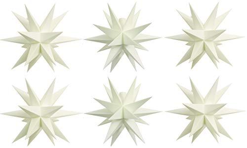 6x Mini Dekostern LED Weiß 18 Zack Batterie Kunststoffstern Leuchtender Stern Innen + Außen Weihnachtsdekoration