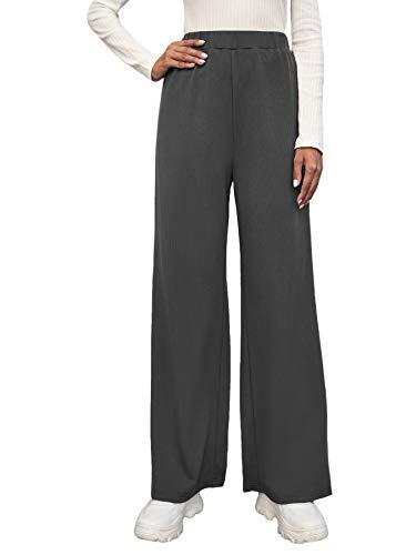 SOLY HUX Pantalones de deporte para mujer, pantalones de jogging, pantalones de golf, pantalones de yoga, informales de pierna ancha, pantalones de deporte con cintura elástica gris L