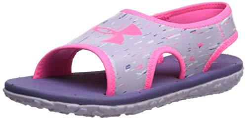 Under Armour Women's Pre School Fat Tire III Slide Sandal, Purple Luxe (500)/Salt Purple, 3 Little Kid